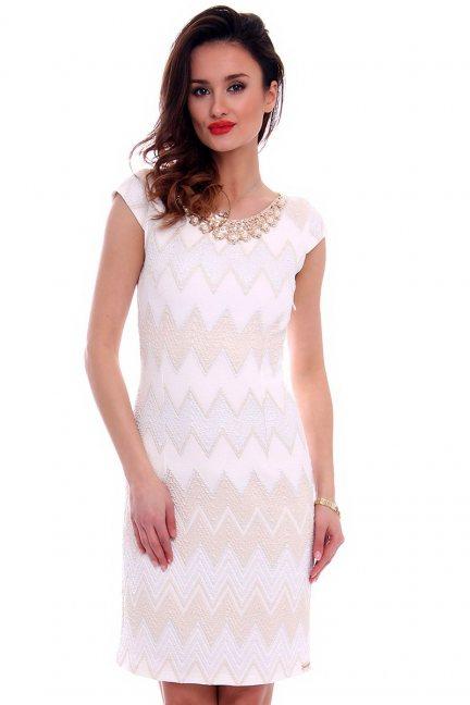 Sukienka damska we wzory CMK461 ecru