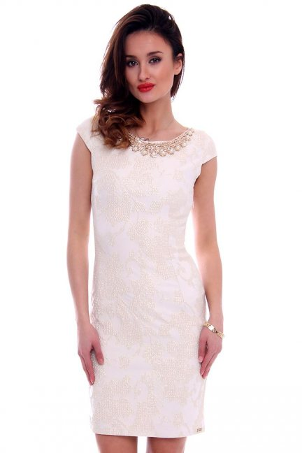 Sukienka ozdobny dekolt CMK462 ecru