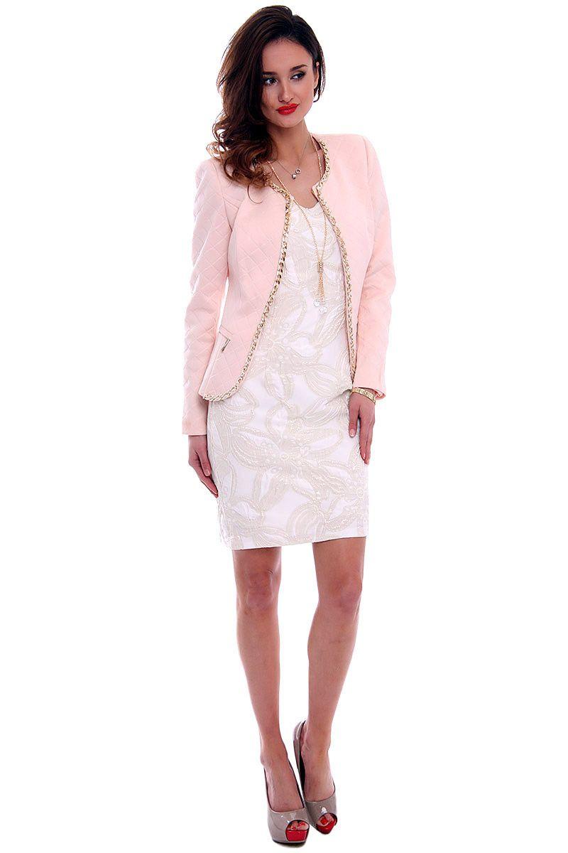 4b09dbea20 Elegancki pikowany żakiet CMK464 pudrowy róż modna odzież w CosmosModa