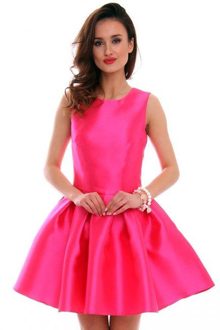 Sukienka zakładki kokarda CMK295 różowa