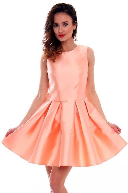 Sukienka zakładki kokarda CMK295 morelowa