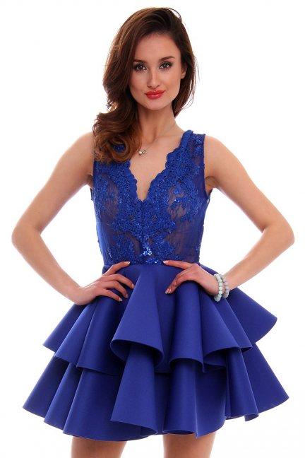 Sukienka koronka z falbanką CMK468 chabrowa
