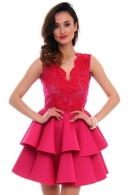 Sukienka koronka z falbanką CMK468 fuksja