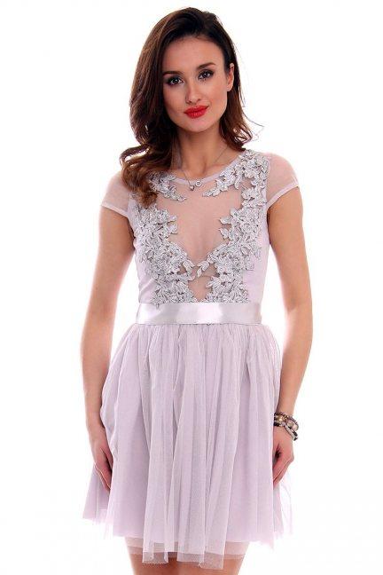 Sukienka haft z tiulem CMK470 szara
