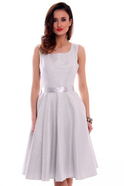Sukienka midi błyszcząca CMK472 szara