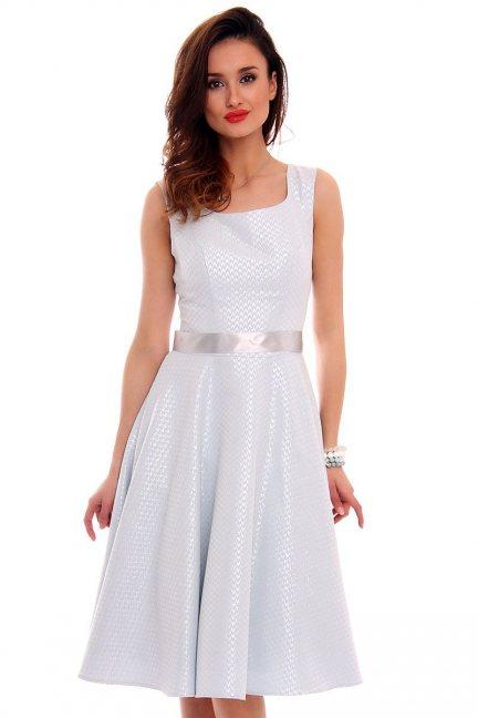Sukienka midi błyszcząca CMK472 błękitna