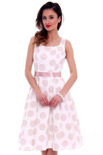 Sukienka w grochy midi CMK473 beżowa