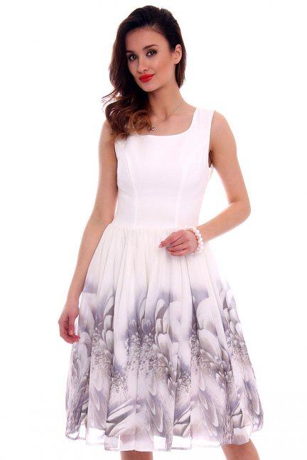 Sukienka rozkloszowana CMK474 ecru