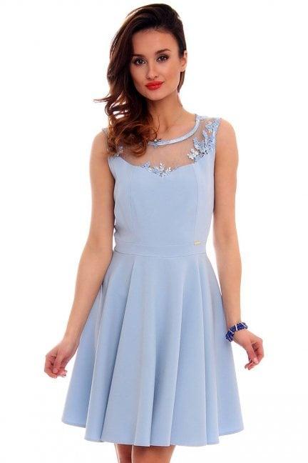 Sukienka rozkloszowana CMK285 błękitna