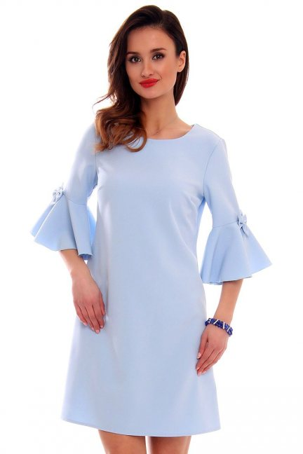 Sukienka z kokardkami CM579 błękitna