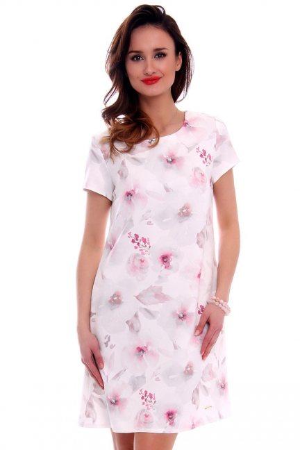 Sukienka w kwiaty trapez CMK476 różowa