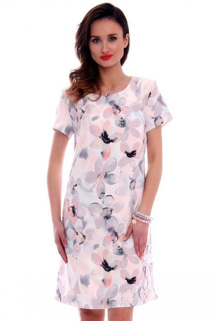 Sukienka w kwiaty trapez CMK476 pudrowy róż