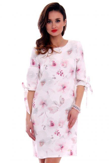 Sukienka w kwiaty trapez CMK477 różowa