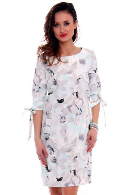 Sukienka w kwiaty trapez CMK477 miętowa
