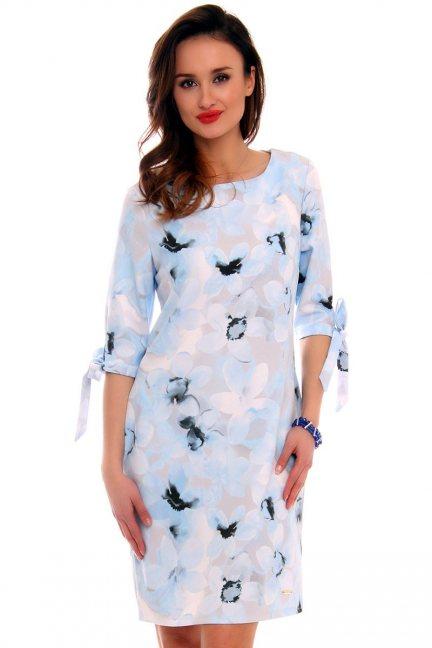 Sukienka w kwiaty trapez CMK477 błękitna
