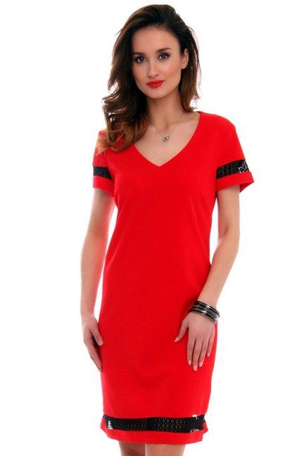 Sukienka z dekoltem CMK478 czerwona