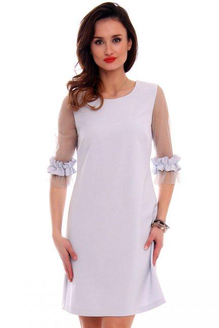 Sukienka z tiulowymi rękawami CMK479 szara