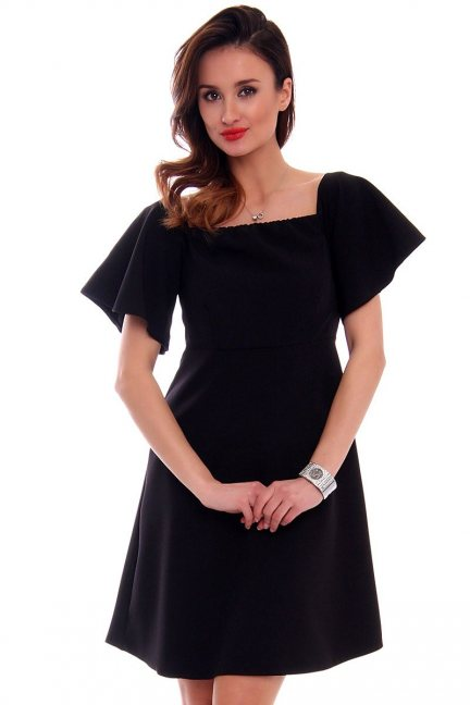 Trapezowa sukienka damska CMK481 czarna