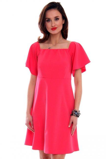Trapezowa sukienka damska CMK481 koralowa