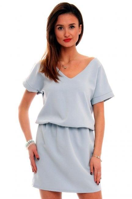Sukienka damska mini CMK408 błękitna