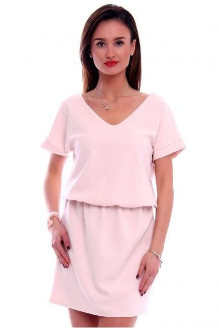 Sukienka mini z paskiem na plecach CMK408 pudrowy róż
