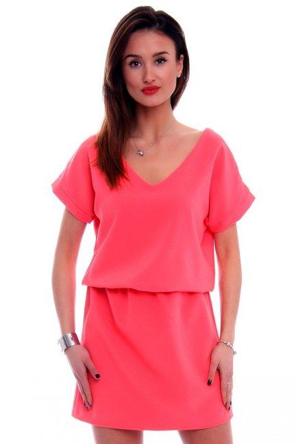 Sukienka damska mini CMK408 koralowa