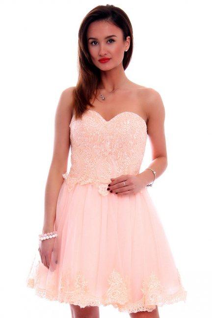 Sukienka gorset z koronką CMW16 różowa