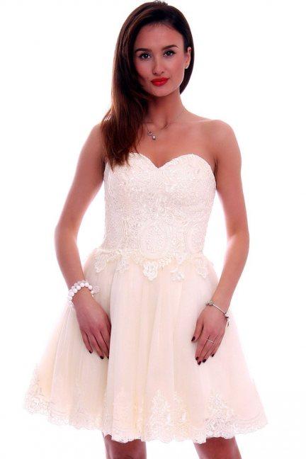 Sukienka gorset z koronką CMW16 ecru