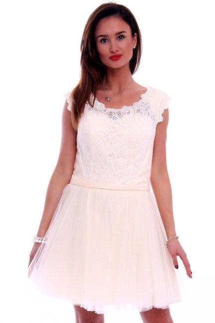 Sukienka z koronki i tiulu CMW02 ecru