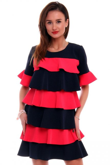 Sukienka falbanka trapez czerwona