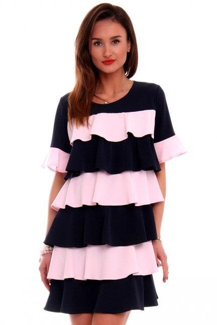 Sukienka falbanka trapez różowa
