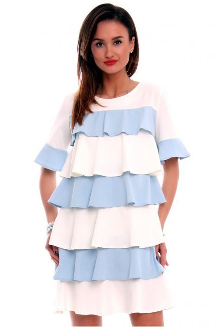 Sukienka falbanka trapez błękitna