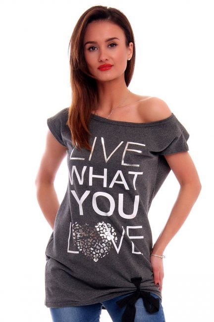 Bluzka Live What You Love CM268 grafitowa