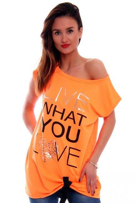 Bluzka Live What You Love CM268 pomarańczowa