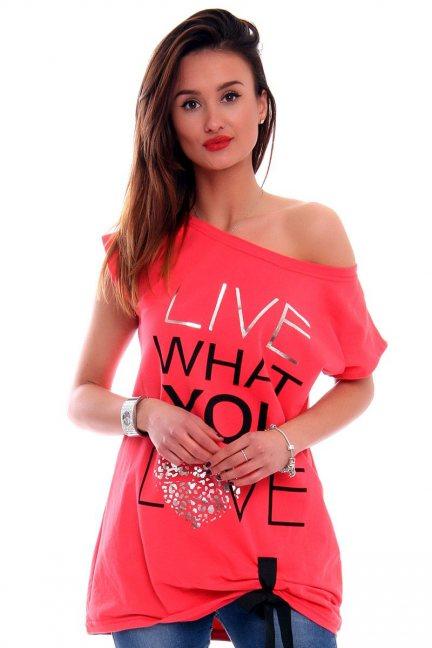 Bluzka Live What You Love CM268 koralowa