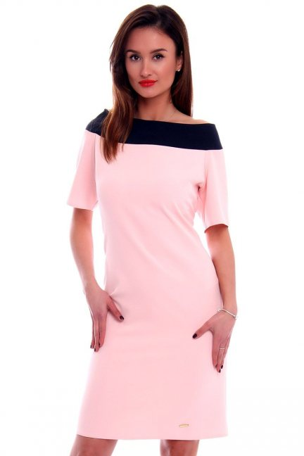 Sukienka ołówkowa midi CM446 różowa
