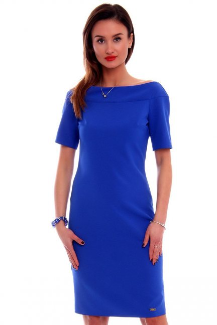 Sukienka ołówkowa midi CM446 chabrowa