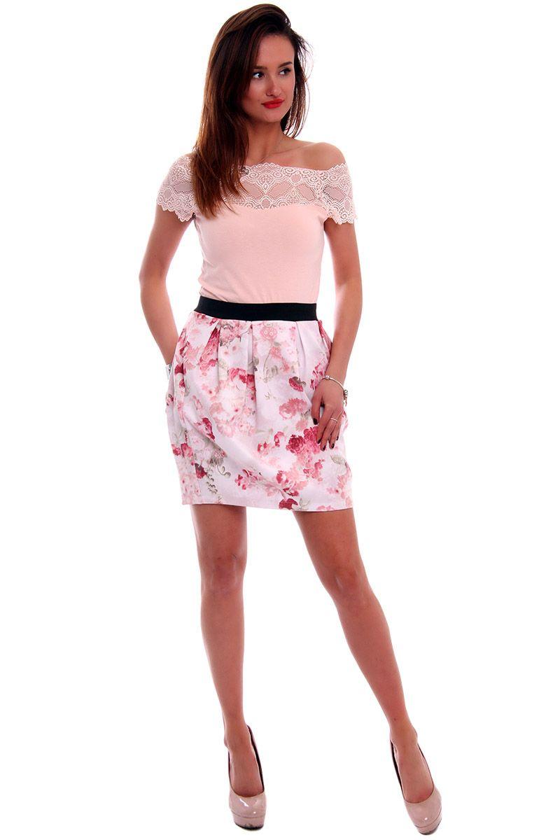 4df9fe44 Spódnica bombka w kwiaty CM0340 różowa modna odzież damska CosmosModa