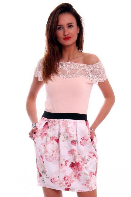 Spódnica bombka w kwiaty CM0340 różowa