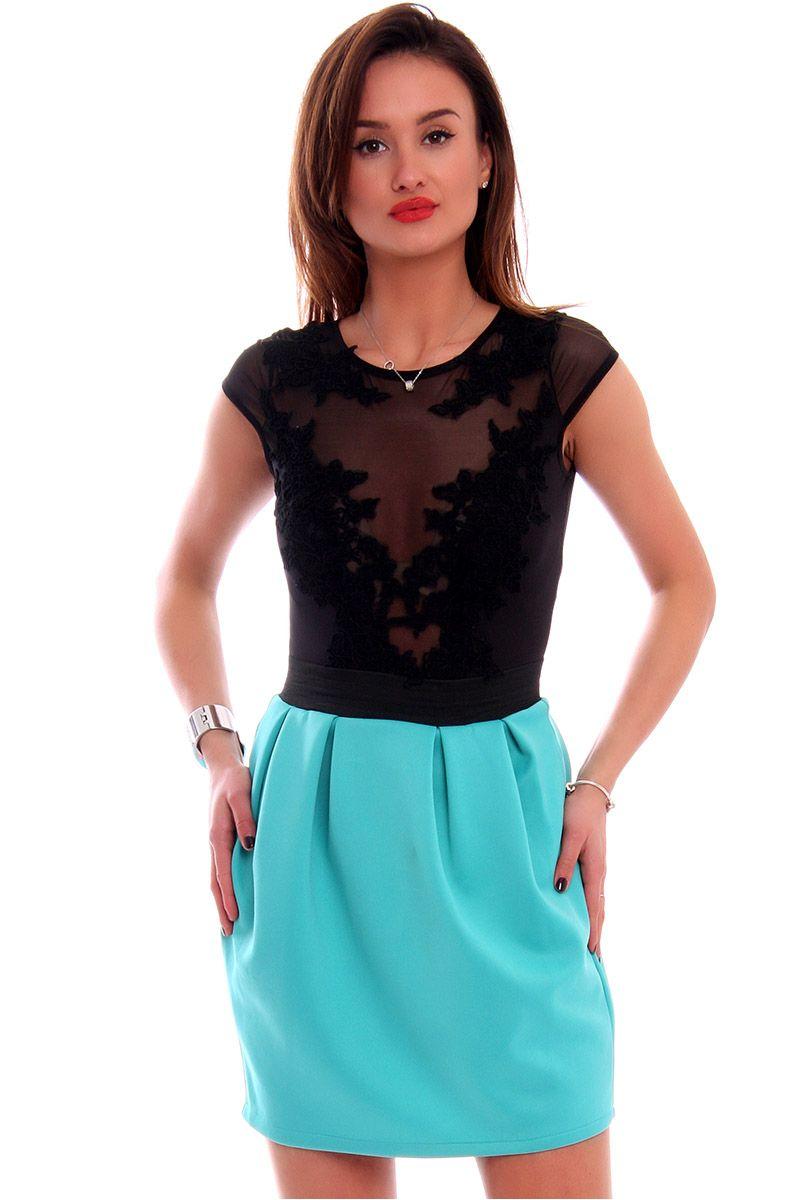 Spódnica bombka gładka CM0340 turkusowa modna odzież damska