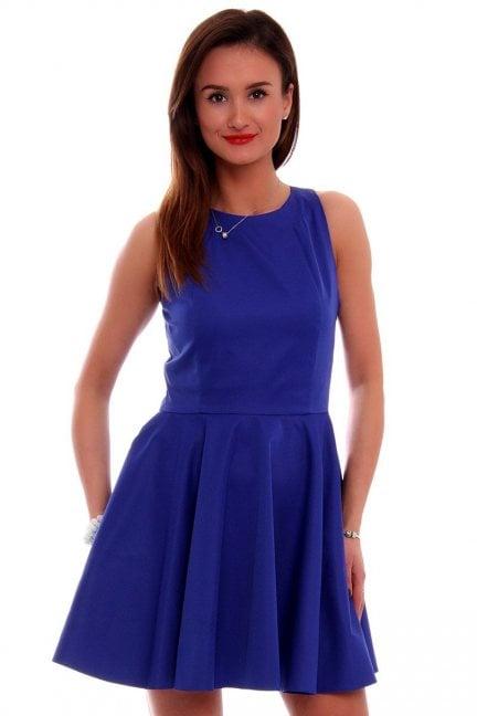 Sukienka rozkloszowana CM228 chabrowa