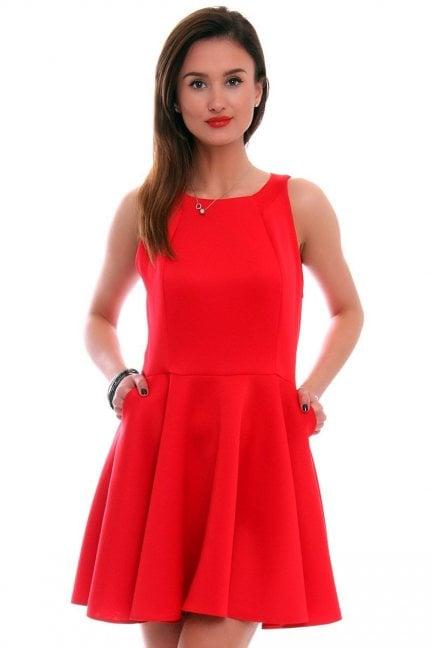 Sukienka rozkloszowana CM228 czerwona