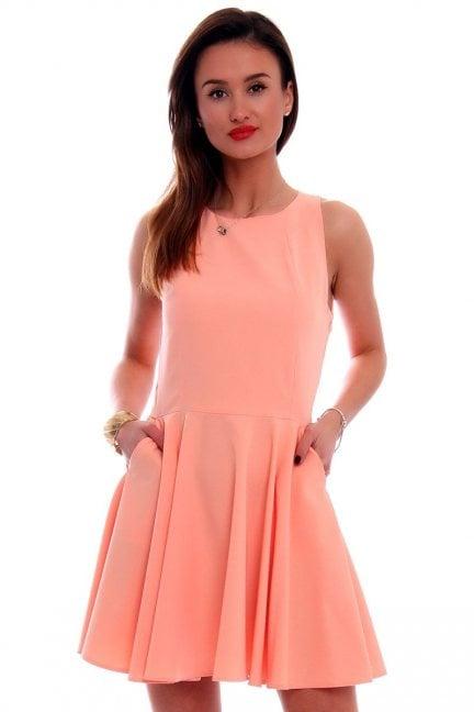 Sukienka rozkloszowana CM228 morelowa