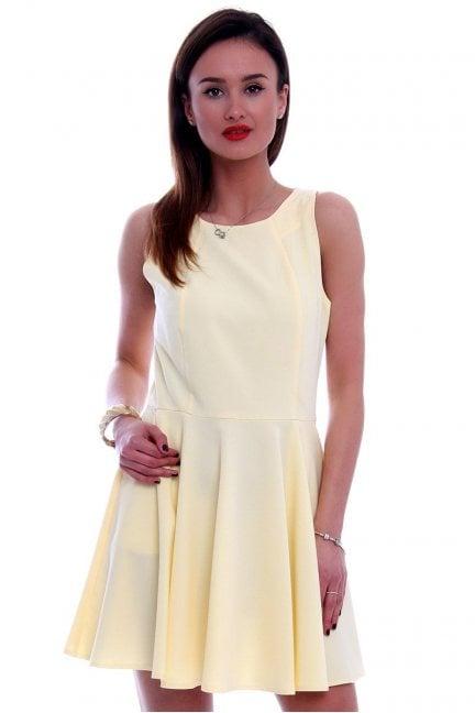 Sukienka rozkloszowana CM228 żółta