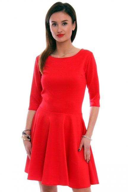 Sukienka rozkloszowana CM199 czerwona