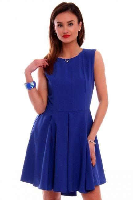 Sukienka asymetryczna CM296 chabrowa
