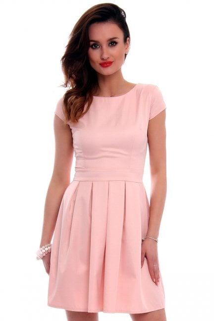 Sukienka rozkloszowana CM102 różowa