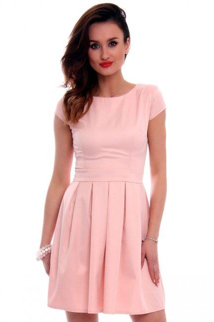 Sukienka midi rozkloszowana CM102 pudrowy róż
