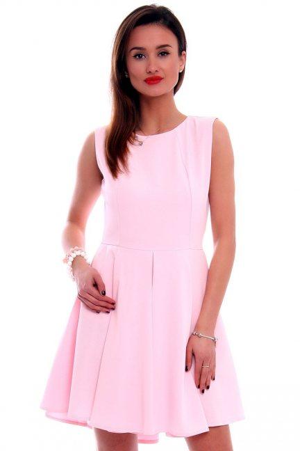 Sukienka asymetryczna CM296 różowa