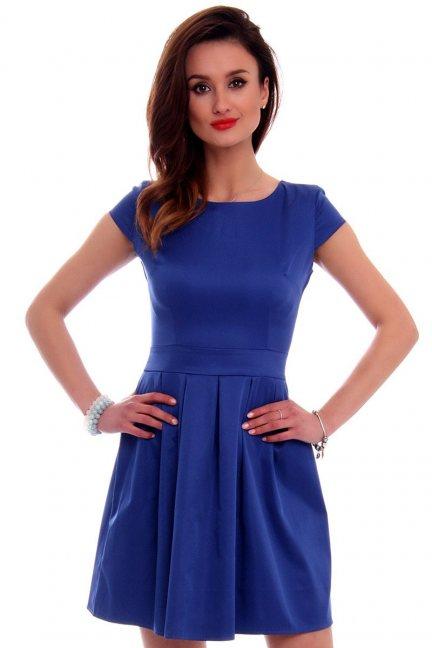 Sukienka midi rozkloszowana CM102 chabrowa